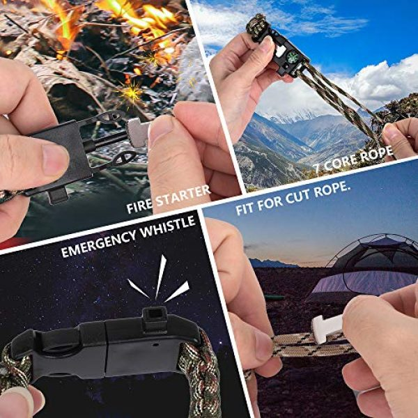 HNYYZL Survival Bracelet 6 HNYYZL 3 Pack Adjustable Paracord Bracelet Kit Outdoor Survival Bracelet Camping Hiking Gear with Compass, Fire Starter, Whistle and Emergency Knife