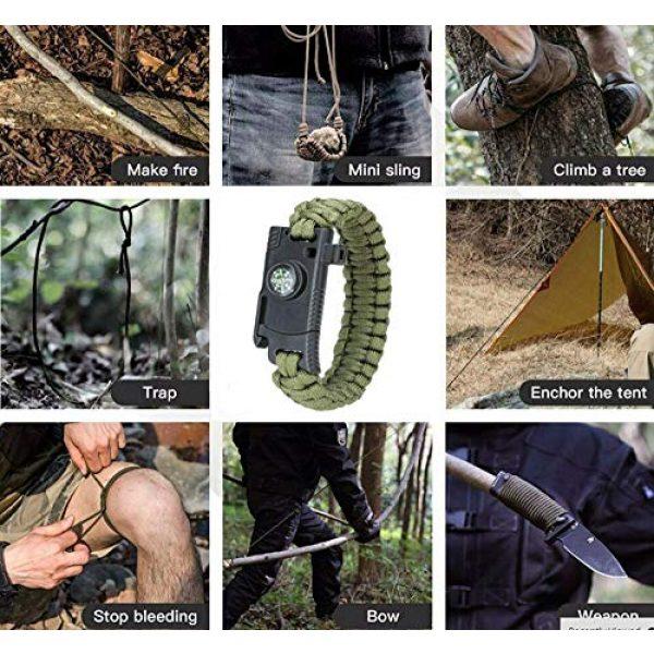 Kissmi Survival Bracelet 5 Paracord Bracelet Survial Kit 500 LB - Emergency Tactical Parachute Rope Bracelet with Compass, Flint Stone, Knife, Whistle,for Outdoor Hiking Travelling Camping Gear -(Set of 5)