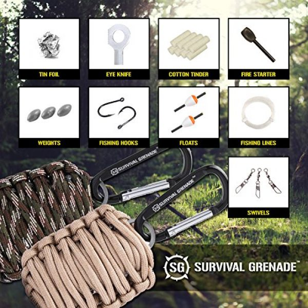 SharpSurvival Survival Kit 2 Survival Kit - Survival Grenade Emergency Key Chain Survival Kit - Paracord Grenade Survival Kit with 8+ Tools + Fire Starter & Eye Knife (Black)
