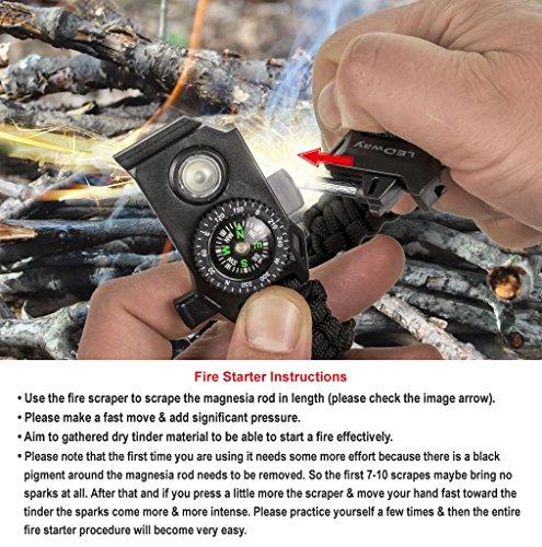 A2S Protection  6 A2S Protection LEDway Paracord Bracelet Tactical Survival Gear Kit 6-IN-1-70% Larger Compass LED SOS Emergency Function Flashlight -Fire Starter Emergency Knife & Whistle