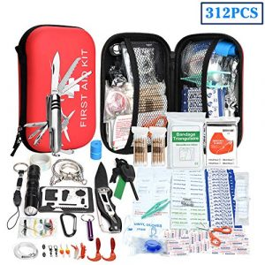 XUANLAN Survival Kit 1 XUANLAN Emergency Survival Kit 13 in 1, Outdoor Survival Gear Tool with Survival Bracelet, Fire Starter, Whistle, Wood Cutter, Water Bottle Clip, Tactical Pen (Survival Kit 5)