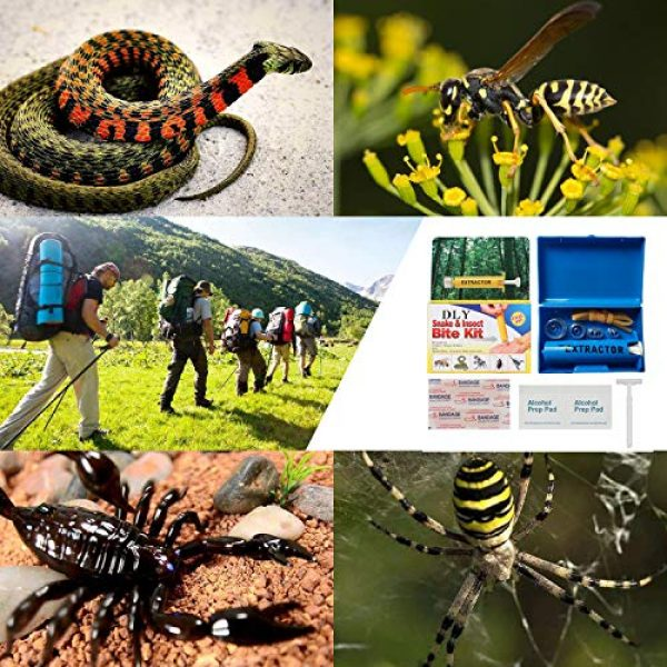 DLY Survival Kit 2 DLY Snake Bite Kit, Bee Sting Kit, Emergency First Aid Supplies, Venom Extractor Suction Pump, Bite and Sting First Aid for Hiking, Backpacking and Camping