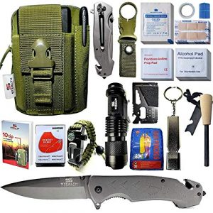 STEALTH SQUADS Survival Kit 1 STEALTH SQUADS 42 in 1 Survival Military Pouch KIT, Premium Tactical Pocket Knife, First AID KIT, EDC Multi-Tool USE for Camping, Hiking, Biking, Outdoor Emergency Safety Gears w/Bonus E-Book