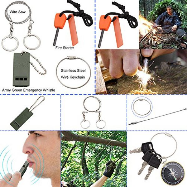 Monoki Survival Kit 4 Emergency Survival Kit, Monoki 9-In-1 Compact Outdoor Survival Gear Kits Portable EDC Emergency Survival Tools Set with Gift Box for Camping Hiking Hunting Climbing Travelling or Wilderness Adventures