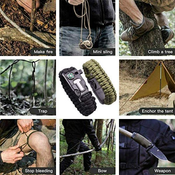 AOOTOOSPORT Survival Bracelet 6 AOOTOOSPORT Survival Paracord Bracelets, 10 Pack Kit Outdoor Survival Bracelet Camping Fishing Hiking Gear with Compass, Fire Starter, Whistle and Emergency Knife
