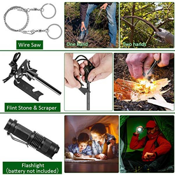 ACVCY Survival Kit 4 ACVCY Survival Gear Kit, 15 in 1 Emergency Survival Kit Professional Emergency Camping Gear Tactical Survival Kit for Camping Hiking Hunting with Wire Saw Emergency Blanket etc