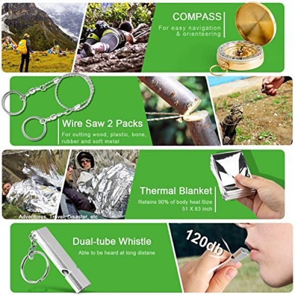 KOSIN Survival Kit 4 KOSIN Survival Gear, 18 in 1 Emergency Survival Kit, Professional Tactical Defense Equitment Tool with Knife Blanket Bracelets Backpack Temperature Compass Fire Starter for Adventure Outdoors Sport