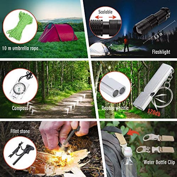 EILIKS Survival Kit 6 EILIKS Survival Kits 47 in 1 Outdoor Emergency SOS Survival Gear Kits for Car Camping Hiking Trekking Wild Adventure Earthquake Survive Tool for Him Father Husband Men Dad Boyfriend Gift