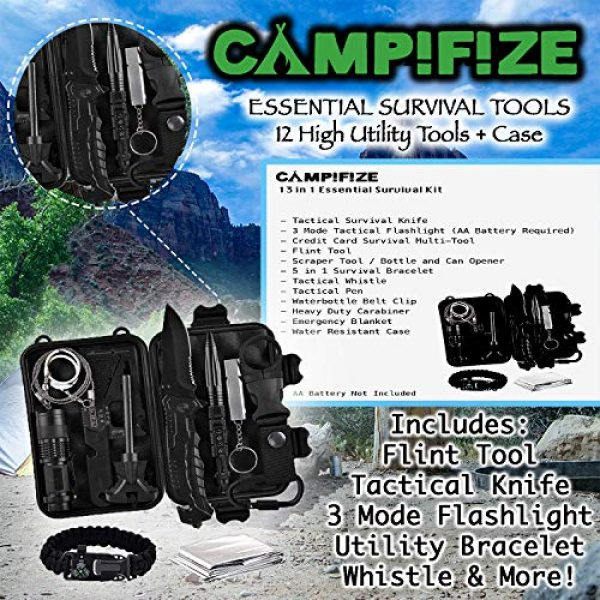 Campifize Survival Kit 2 Campifize Survival Tool Kit for Emergencies 13 in 1 Gear for Camping, Hiking, Climbing, Car - Birthday Gift - Present for Boyfriend - Husband or Wife - Mom or Dad - Father's Day