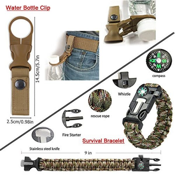 XUANLAN Survival Kit 4 XUANLAN Emergency Survival Kit 13 in 1, Outdoor Survival Gear Tool with Survival Bracelet, Fire Starter, Whistle, Wood Cutter, Water Bottle Clip, Tactical Pen (Survival Kit 4)