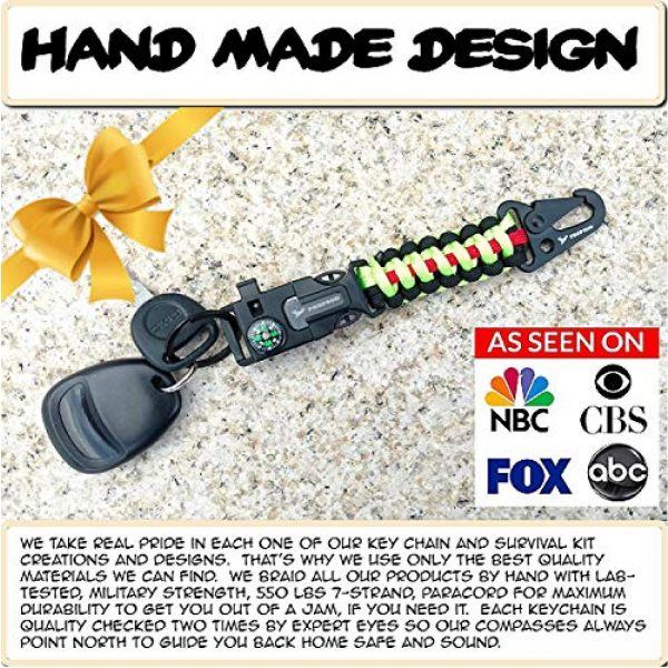 PREP2GO Survival Keychain 3 PREP2GO Paracord Survival Keychain-Compass Whistle Firestarter Kit-Cool Gadget Gifts for Husband Dad Men Him or Her-Camping Hiking Hunting-Mom,Teen Girl Boy Scout Can Get Fire & Shelter in Emergency!