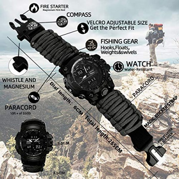 wejie Survival Kit 5 wejie Survival Bracelet Watch, Men and Women Digital Outdoor Sports Watch, 6-in-1 Waterproof Emergency Survival Watches with Paracord, Whistle, Fire Starter, Scraper, Compass and Survival Gear