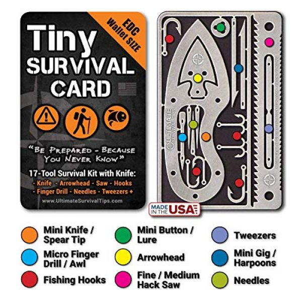 ULTIMATE SURVIVAL TIPS BE PREPARED-BECAUSE YOU NEVER KNOW Survival Kit 3 Tiny Survival Card: A 17-Tool Survival Kit with Knife That Fits in Your Wallet - Ultimate EDC, Multitool Card for Your Wallet - Great Gift!