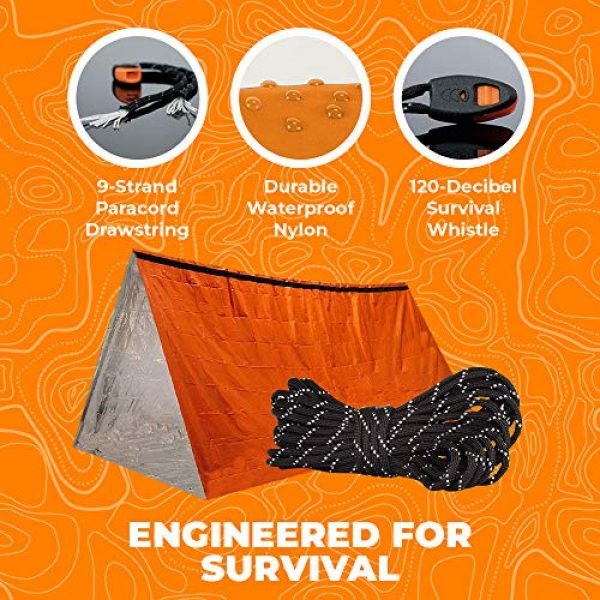 Survival of the Fittest Survival Shelter 2 Survival of the Fittest Emergency Tent - Portable Mylar Survival Tent for Outdoor Activities - Lightweight All-Weather Thermal Tube Tent for Camping - Emergency Survival Tent Waterproof Shelter for 2
