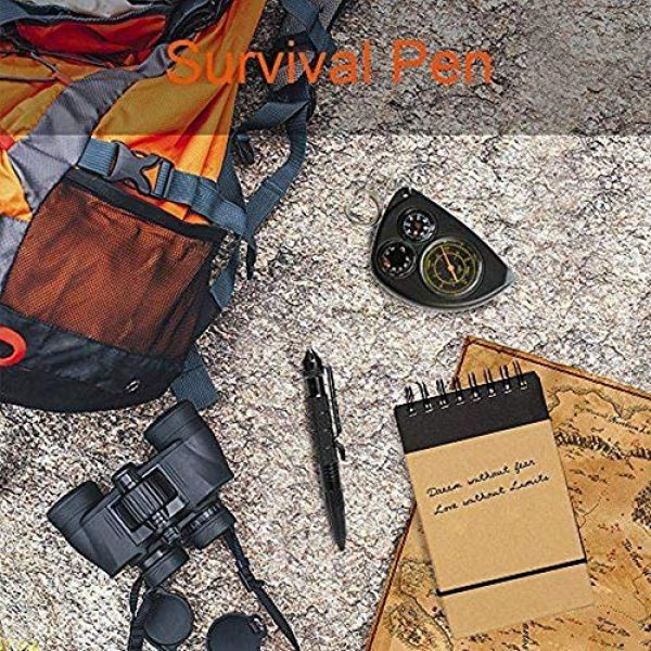 XUANLAN Survival Pen 6 XUANLAN Tactical Pen with 6 Ink Refill, Self Defense Pen with Emergency Glass Breaker Ballpoint, Aircraft Aluminum W/Tungsten Steel Tip EDC Emergency Kit, Survival Gear (1 Pack)