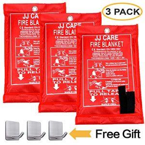 "JJ CARE Survival Fire Blanket 1 JJ CARE Fire Blanket Fire Suppression Blanket, Fire Blanket Kitchen, Fire Emergency Blanket, Fire Retardant Blankets, Fiberglass, Fire Safety Blanket for Camping-Kitchen-Car Emergency 40""x40"" +3 Hooks"