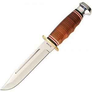 Ka-Bar Fixed Blade Survival Knife 1 Ka Bar 2-1235-2 Leather Handled Marine Hunter Knife