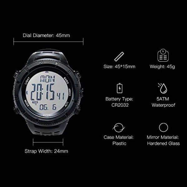 EZON Survival Compass 4 EZON Men's Digital Sports Watch for Outdoor Hiking with Compass Altimeter Barometer Thermometer Waterproof Military Watch Wristwatch H001H11