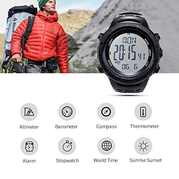 EZON Survival Compass 2 EZON Men's Digital Sports Watch for Outdoor Hiking with Compass Altimeter Barometer Thermometer Waterproof Military Watch Wristwatch H001H11