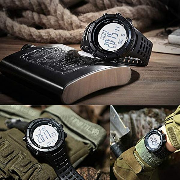 EZON Survival Compass 7 EZON Men's Digital Sports Watch for Outdoor Hiking with Compass Altimeter Barometer Thermometer Waterproof Military Watch Wristwatch H001H11