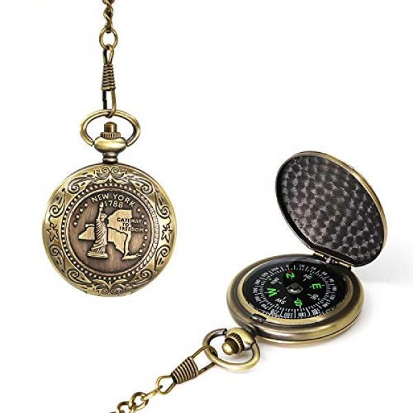 MIASTAR Survival Compass 1 Classic Collection Antiqued Finish Compass with Chain | Premium Pocket Compass | Survival Gear Compass for Kids Hiking, Camping, Motoring, Backpacking, Outdoor Activities (Copper)