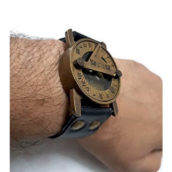 collectiblesBuy Survival Compass 7 Vintage Antique Sundial Compass with Leather Band Retro Watch Compass Nautical Comfort Wear Handmade Article