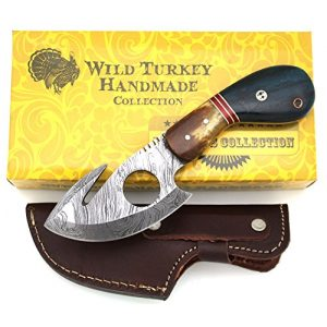 Wild Turkey Handmade Fixed Blade Survival Knife 1 Wild Turkey Handmade Damascus Steel Color Bone Handle Fixed Blade Full Tang Skinner Knife w/Leather Sheath Hunting Camping Fishing Outdoor