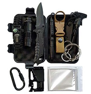 LIT FITNESS Survival Kit 1 LIT FITNESS Survival Kits 12-in-1 Emergency Survival Kit, Including Rock Climbing Gear, Emergency Blankets, Survival Bracelet, Tactical Pen, Tactical Flashlight, Gift Sets for Men